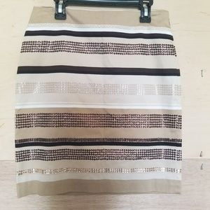WHBM Beige Cream Brown Sequined Pencil Skirt